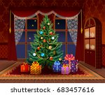 christmas tree in the living... | Shutterstock .eps vector #683457616