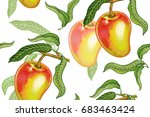 seamless pattern with mango.... | Shutterstock .eps vector #683463424