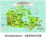 illustrated map of canada. | Shutterstock .eps vector #683464108