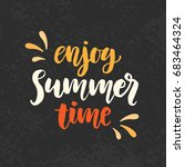 enjoy summer time phrase. cure... | Shutterstock .eps vector #683464324