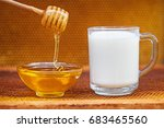 honeycomb and honey in glass... | Shutterstock . vector #683465560