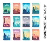 collection of famous city... | Shutterstock .eps vector #683466049