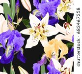 seamless pattern with lilies...   Shutterstock .eps vector #683467258