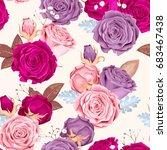 beautiful roses seamless | Shutterstock .eps vector #683467438