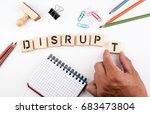 disrupt concept. wooden letters ... | Shutterstock . vector #683473804