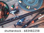 fishing equipment on a old... | Shutterstock . vector #683482258