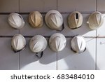 safety helmet hanging on the... | Shutterstock . vector #683484010