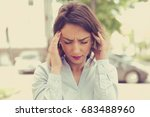 portrait stressed sad young... | Shutterstock . vector #683488960