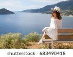 girl in white sitting on chair  ... | Shutterstock . vector #683490418