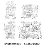 set of cute street food kiosks. ... | Shutterstock .eps vector #683501080