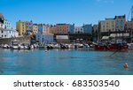 colourful houses line the... | Shutterstock . vector #683503540