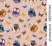 Watercolor Pattern With Owl And ...