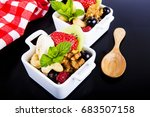 salad with fruits and berries    Shutterstock . vector #683507158