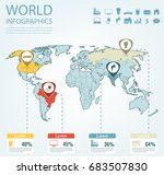 world map infographic template. ... | Shutterstock .eps vector #683507830
