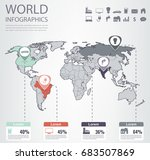 world map infographic template. ... | Shutterstock .eps vector #683507869