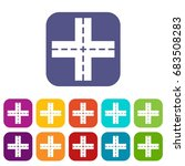 crossing road icons set   Shutterstock .eps vector #683508283