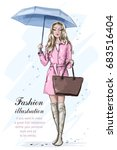 cute fashion girl with umbrella.... | Shutterstock .eps vector #683516404