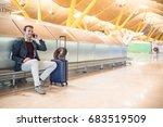 young man waiting listening... | Shutterstock . vector #683519509