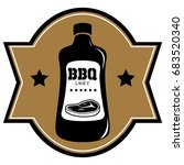 isolated barbecue label with a... | Shutterstock .eps vector #683520340