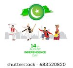 14th of august pakistan... | Shutterstock .eps vector #683520820