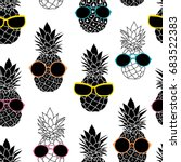 vector pineapples wearing... | Shutterstock .eps vector #683522383