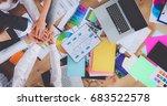 business team with hands... | Shutterstock . vector #683522578