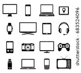 modern digital devices and... | Shutterstock . vector #683524096