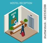 isometric hostel reception.... | Shutterstock .eps vector #683530288