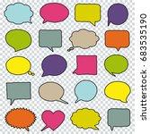 blank empty hand drawn speech... | Shutterstock . vector #683535190