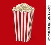 popcorn in striped bucket on... | Shutterstock . vector #683538304