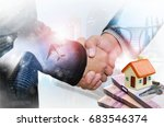 handshake  with real estate... | Shutterstock . vector #683546374