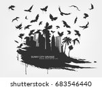 black spot watercolors. flying... | Shutterstock .eps vector #683546440