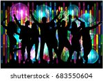 dancing people silhouettes. | Shutterstock .eps vector #683550604