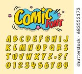 comic retro font set. alphabet... | Shutterstock .eps vector #683552173