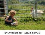 a little boy is looking through ... | Shutterstock . vector #683555938