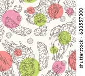 seamless pattern with pitaya... | Shutterstock .eps vector #683557300