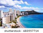 hawaii waikiki beach | Shutterstock . vector #683557714