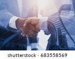 business people shaking hands... | Shutterstock . vector #683558569