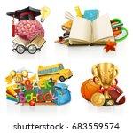 school concepts  3d vector set | Shutterstock .eps vector #683559574