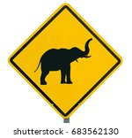 warning  for elephants  yellow... | Shutterstock . vector #683562130
