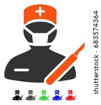 surgeon flat vector icon with... | Shutterstock .eps vector #683574364
