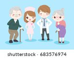 doctor with old couple on the...   Shutterstock .eps vector #683576974