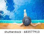 at pool beach  women lifestyle... | Shutterstock . vector #683577913