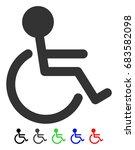 handicapped flat vector... | Shutterstock .eps vector #683582098