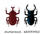 illustration of beetle and stag ... | Shutterstock .eps vector #683593963