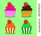 Cupcake With Strawberry Vector...