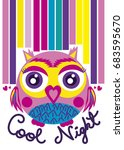 cartoon owl illustration for... | Shutterstock .eps vector #683595670