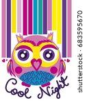 cartoon owl illustration for... | Shutterstock .eps vector #683595670