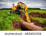 an excavator on the gas... | Shutterstock . vector #683601436