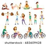 vector set of fitness... | Shutterstock .eps vector #683609428